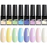 LILYCUTE Smalto Semipermanente per Unghie Gel Pastello 8 Colori Smalto Gel per Unghie 7ml Set Lampada UV/LED Asciugatura…