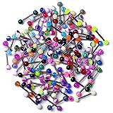Zonster Confezione da 20 Colorati Sfera in Acciaio Inossidabile con bilanciere Anelli di Lingua Bar Piercing Cosmetic (Type1: