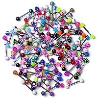 Zonster Confezione da 20 Colorati Sfera in Acciaio Inossidabile con bilanciere Anelli di Lingua Bar Piercing Cosmetic…