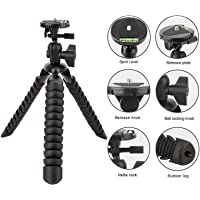 Yantralay 12 inch Flexible Gorillapod Mobile Tripod with Quick Release Plate, Mobile Holder, Tripod Mount & Rotating Ball Head for DSLR, Action Cameras & Smartphones – Black