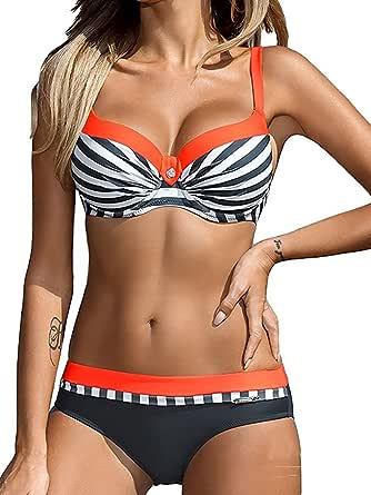 UMIPUBO Costumi da Bagno Push Up Imbottito Costumi da Mare Donna Due Pezzi Bikini Sexy Spiaggia Beachwear Swimwear