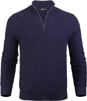 iClosam Men's Zip Jumpers Men's Set-in Classic Sweater Pullover Knitwear