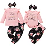 WeoTca Soeur Vêtements Assortis Enfant Bébé Fille Ensemble de Vêtements Grande Petite Soeur Assortis Ensemble de Vêtements Fl