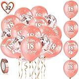 HOWAF 18 Ans Or Rose Anniversaire Décorations pour Filles, 30 Pièces Or Rose Anniversaire de Baudruche Latex Confettis Ballon