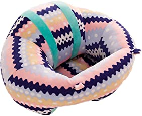Baby Grow Baby Support Seat Sofa Plush and PP Cotton Animal Pillow Protector Cushion Seating Sofa for 0-2 Year(Wave Pattern)