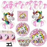 Vajilla Papel Cumpleaños Unicornio Rosa para 16 Invitados,101 Piezas Incluye Platos, Vasos, Mantel, Servilletas y Globos,Idea