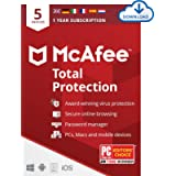 McAfee Total Protection 2021 | 5 Device | 1 Year | Antivirus Software, Internet Security, Password Manager, Mobile…