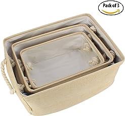 HOKIPO® Foldable Storage Basket Bins Organizer, Pack of 3