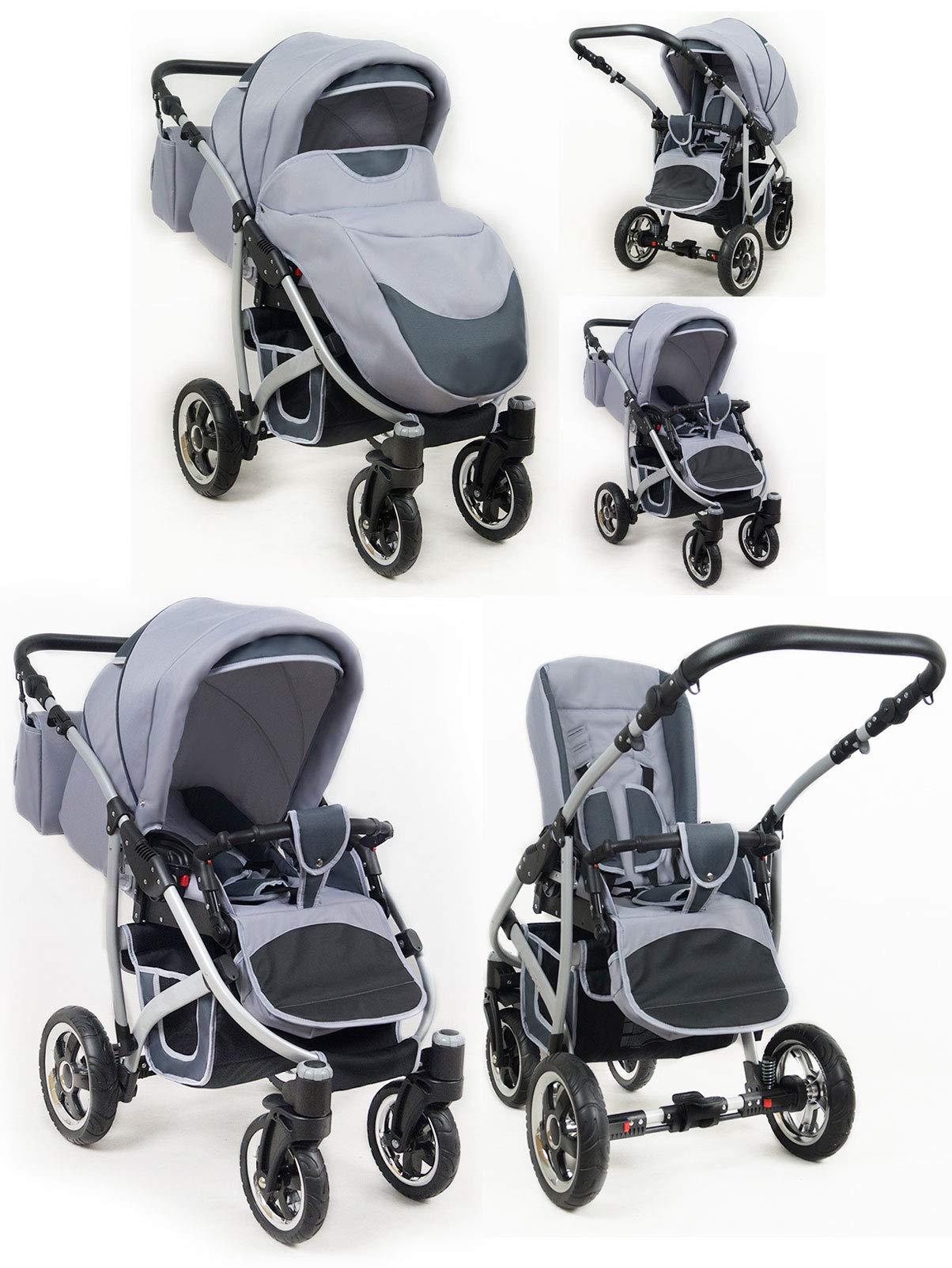 Lux4Kids 3 in 1 Combi pram Pushchair Stroller Complete Set with car seat Isofix Larmax Black & Pink 4in1 car seat +Isofix Lux4Kids Lux4Kids 4in1 or 3in1 or 2in1 pushchair. You have the choice whether you need a car seat (baby seat certified according to ECE R 44/04 or not). Of course, the Pram is stabil, safe and durable Certificate EN 1888:2004 Of course, the baby Basket has a rocking function when it is removed from the pram. The push handle adapts to your size and fits for everyone 5