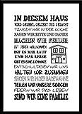 artissimo, Spruch-Bild gerahmt, 51x71cm, PE6003-ER, In diesem Haus, Bild, Wandbild mit Spruch, Spruch-Poster mit Rahmen…