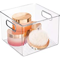 InterDesign Linus boite stockage, rangement tiroir carré en plastique avec poignées, transparent