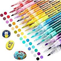 RATEL Peinture Acryliques Stylos, 28 Couleurs Marqueur Peinture Acrylique Premium Permanent Feutre Acrylique Stylo…