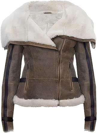 Infinity Leather Giacca in Pelle da Motociclista Pilota da Aviatore in Pelle di Montone Merino Whisky Marrone Chiaro