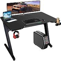 Gaming Tisch mit LED-Licht 6 Farben Gamer Schreibtisch 100 * 60cm PC Computertisch Ergonomisch Carbon Tischplatte…