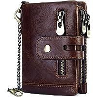 REETEE Portafoglio Uomo Blocco RFID Portafogli Uomo Vera Pelle con Catena,Cerniera Portamonete 16 Porta Carte di Credito…