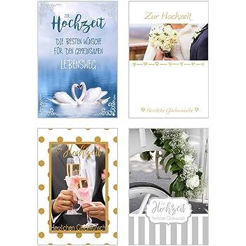 Set 4 Exklusive Hochzeitskarten Mit Feiner Goldpragung Oder