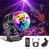 Boule Disco de Commande Vocale, Detake 7 Couleurs Lampe de Scne avec Télécommande et Câble USB 4M, 360° Rotative Jeux de Lumi
