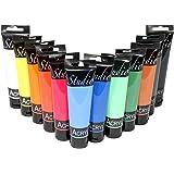 Magi Studio-akryl färgset 12 x 100 ml rör, totalt 1 200 ml konstnärsfärg akrylfärg