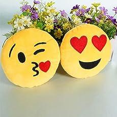 SRT Heart Eyes & Kissing Emoji |Smiley(Combo) | Emoticon Cushion Pillow Soft Toy 35cm (Heart Eyes & Kissing)