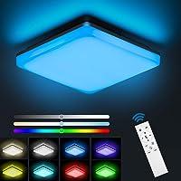 NIXIUKOL Plafonnier Led 24W RGB, Luminaire Plafonnier avec télécommande, couleur de lumière et luminosité dimmable, IP54…