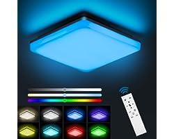 NIXIUKOL Plafonnier Led 24W RGB, Luminaire Plafonnier avec télécommande, couleur de lumière et luminosité dimmable, IP54 Impe
