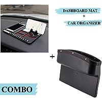Lukzer Car Interior Accessories Combo - 1 PC Leather PU Car Console Side Storage Seat Gap Organizer + 1PC Multi…
