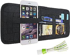 Auto Sonnenblende Organizer, FineGood Mehrzweck Anti-Rutsch-elastische Nylon Stoff Auto Aufbewahrungstaschen Tasche Zubehör für CD-Card Sonnenbrillen, mit 1 Klimaanlage Reiniger - Schwarz