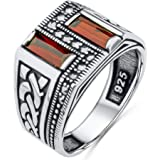 Solid 925 Sterling Silver Turkish Handmade with Baguette Cut Simulated Red Ruby Stone & Marcasite Stone Men's Band Ring