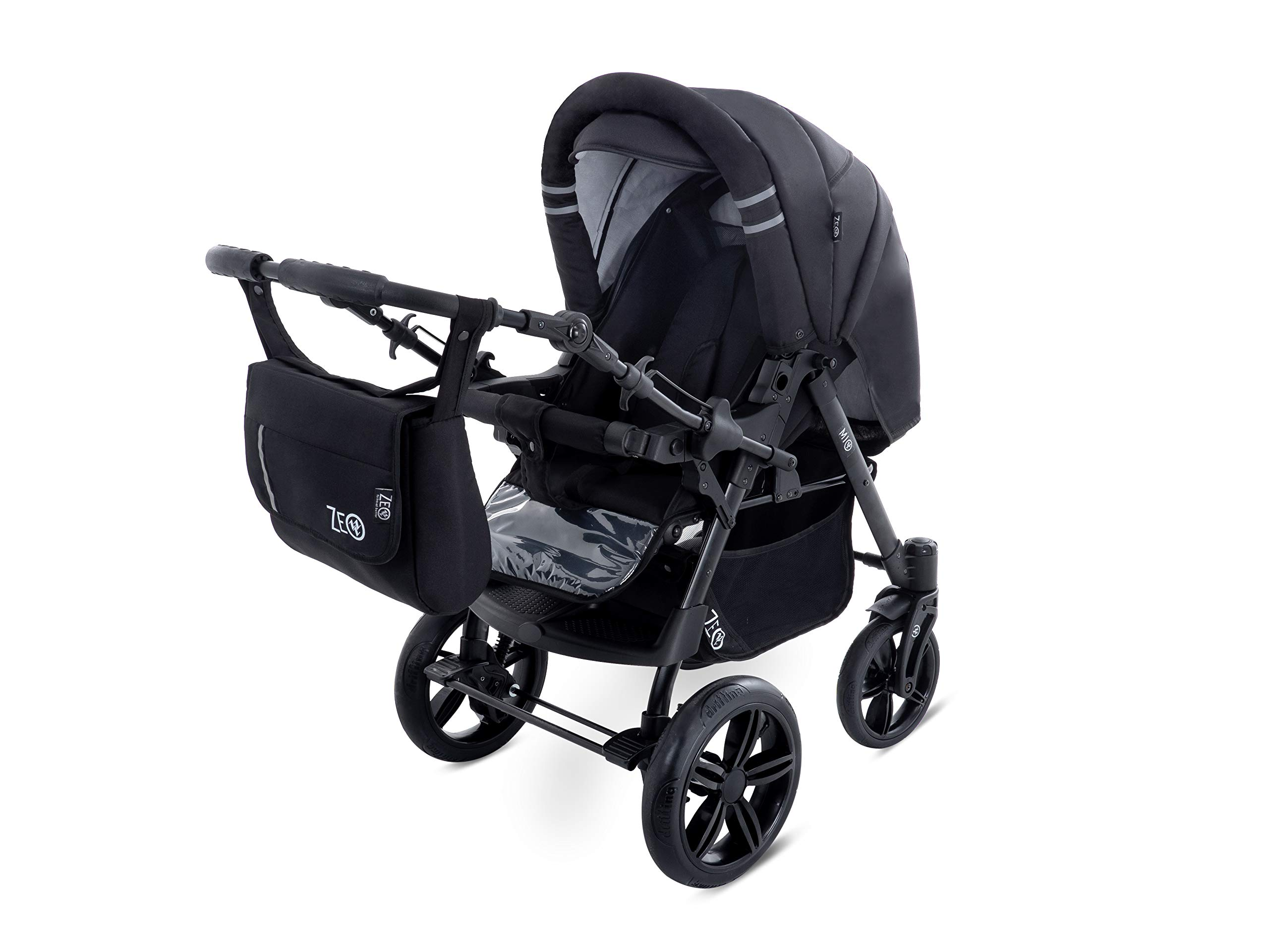 Baby Pram Zeo Mio 3in1 Set - All You Need! carrycot Gondola Buggy Sport Part Pushchair car seat (M1)  3 in 1 combination stroller complete set, with reversible handle to the buggy, child car seat or baby carriage Has 360 ° swiveling wheels, two-fold suspension, four-stage backrest, five-position adjustable footrest and a five-point safety belt The stroller can be easily converted into other functions and easy to transport 7