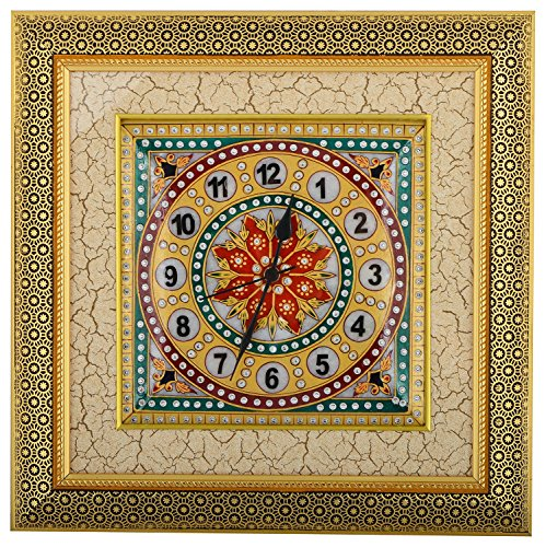 Saudeep India Trading Corporation Marble Wall Clock (SIWCFCOG8, 38 cm x 38...