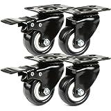 JZK 4 x zwarte PU-strandstoelwielen, transportwielen, set van 2 zwenkwielen + 2 zwenkwielen met rem 50 mm, kleine zwenkwielen