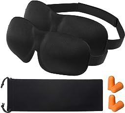 OMORC 3D Schlafmaske Augenmaske für Frauen und Herren Nachtmaske Verstellbarem Gummiband 2-Pack (Schwarz) Sockentasche