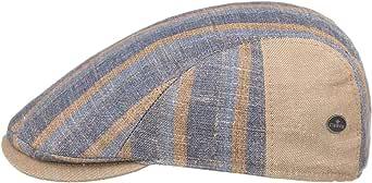 Lierys Coppola in Lino e Cotone Stripes Uomo - Made Italy Cappello Piatto Berretto Cotton cap con Visiera, Fodera, Fodera Primavera/Estate
