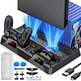 BEBONCOOL Supporto PS4 con Ventola di Raffreddamento, All-in-One Ricarica Supporto a Doppio Controller con Indicatori LED e C