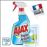 AJAX - Produit Nettoyant Vitres Ajax Triple Action Spray - Pour des Vitres 100 % Sans Traces - Formule 3 en 1 - Flacon Spray