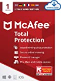 McAfee Total Protection 2020 | 1 Device | 1 Year | Antivirus Software, Internet Security, Password Manager, Mobile Security | PC/Mac/Android/iOS | Download Code