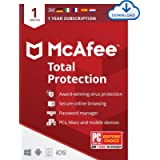 McAfee Total Protection 2021   1 Device   1 Year   Antivirus Software, Internet Security, Password Manager, Mobile…