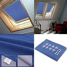 HDM 96*93cm Dunkelblau Dachfenster Rollo + mit 8 stabil Saugnäpfen ohne Bohren, Verdunkelungsrollo Thermorollo Sonnen- & Sichtschutz für Velux Dachfenster, Fenster, Balkon