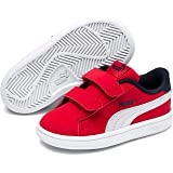 PUMA Smash v2 Buck V Inf Kinder Low Boot Sneaker Rot-Weiss-Peacoat