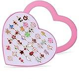 WolinTek Anelli Bambina Regolabili 36 Pezzi Ragazza per Bambini Anelli con Vetrina a Forma di Cuore, Perfetto per i Bambini F