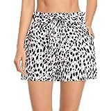 MISS MOLY Pantalones Cortos Mujer Rayas Verano con Pretina Elástica Cintura Alta Pantalones