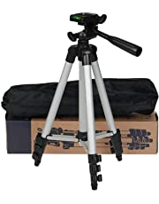 trybhi 3110 Portable and Foldable Tripod with Mobile Clip Holder Bracket, Fully Flexible Mount with 3 Dimensional Head for Phones and Camera