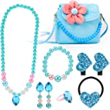 Hifot Kinderschmuck Kleine Mädchen Plüsch-Handtasche Halskette Armband Ohrringe Ring Haarspangen Haarbänder Set, Prinzessin K