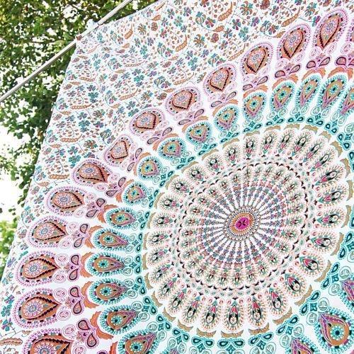 Indiano psychedelic pavone mandala hippie boemia arazzo casa indiano dorm decor mandala copriletto etnico decorativo doppia dimensioni 137,2x 182,9cm (140x 185cms)
