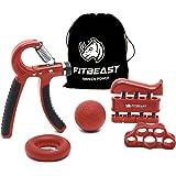 Fortalecedor de agarre de mano Kit de entrenamiento de agarre de antebrazo: paquete de 5, agarrador de mano ajustable, ejerci
