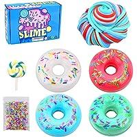 Donut Candy Slime – 4 couleurs en coton boue, sucette colorée arc-en-ciel en coton moelleux, slime super doux, jouet…