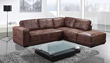 Brand New Carlton Leather Corner Sofa With Footstool (Right Hand Facing,  Tan)