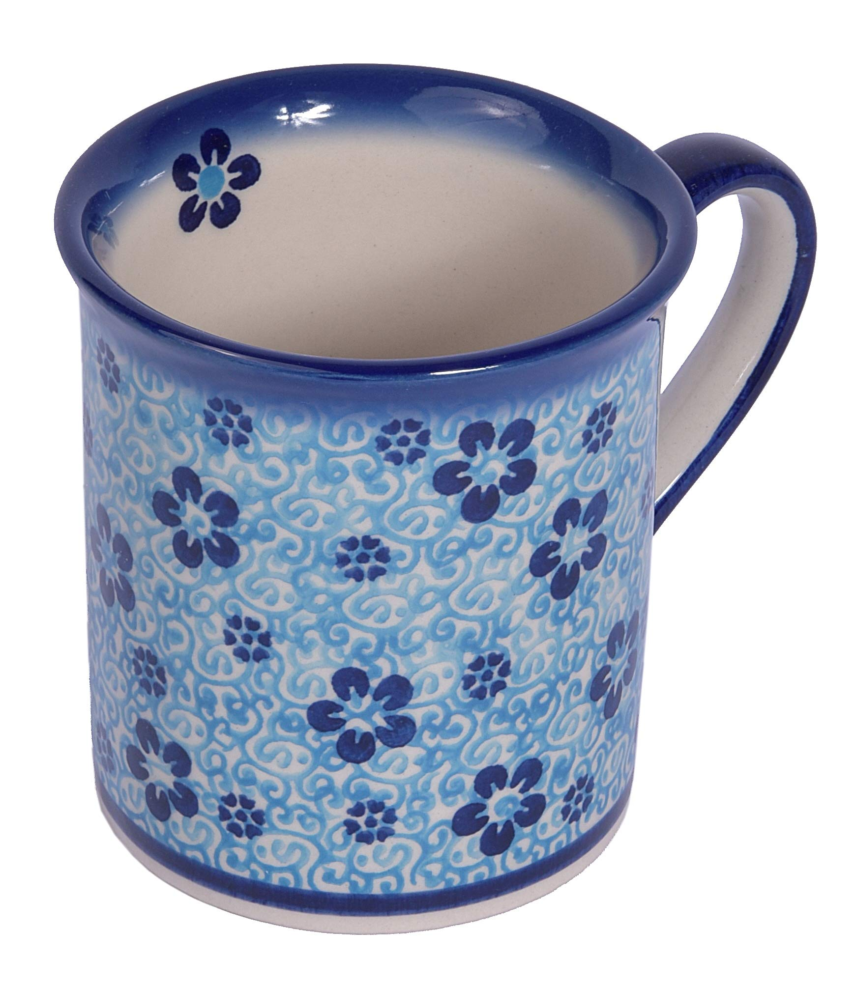 Traditional Polish Pottery, Handcrafted Ceramic Funnel-shaped Mug (300ml / 10.5 fl oz), Boleslawiec Style Pattern, Q.301.PASSION