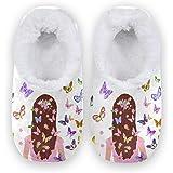 Naanle - Pantofole da donna in memory foam, con motivo floreale, con farfalle, per interni ed esterni, in pile, con suola in