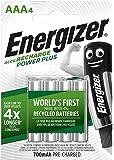 Energizer Batterie Ricaricabili AAA, Recharge Power Plus, Confezione da 4